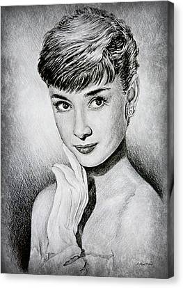 Hollywood Greats Audrey Hepburn Canvas Print by Andrew Read