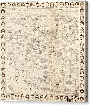 Hollywood Map To The Stars 1937 Canvas Print by Don Boggs