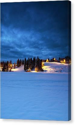 Snowy Night Canvas Print - Holmenkollen Blue by Aaron Bedell