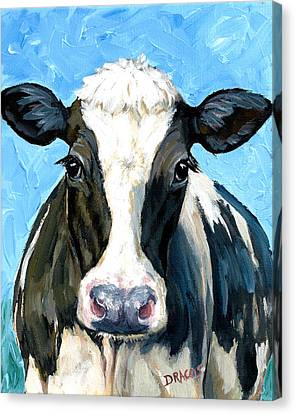 Cow Canvas Print - Holstein Cow 1 Head And Chest by Dottie Dracos