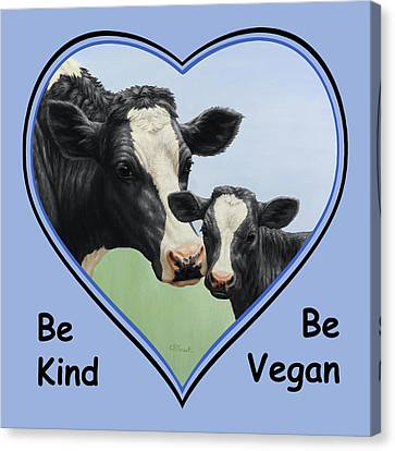 Holstein Cow And Calf Blue Heart Vegan Canvas Print by Crista Forest