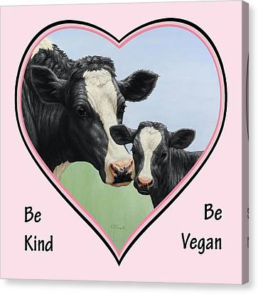 Holstein Cow And Calf Pink Heart Vegan Canvas Print by Crista Forest
