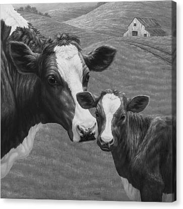Holstein Cow Farm Black And White Canvas Print by Crista Forest
