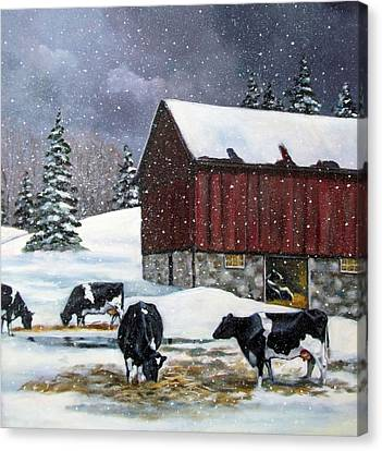 Holstein Cows On Snowy Day No. 2 Canvas Print by Joyce Geleynse
