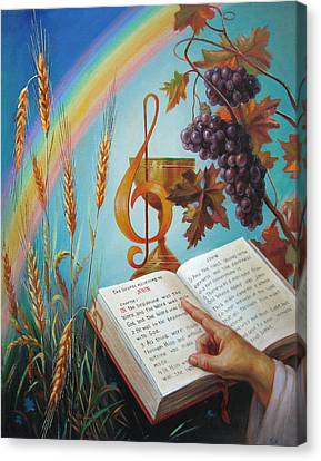 Canvas Print featuring the painting Holy Bible - The Gospel According To John by Svitozar Nenyuk