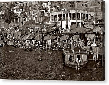 Moksha Canvas Print - Holy Ganges Monochrome by Steve Harrington