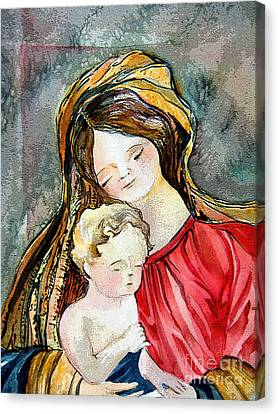 Holy Mother And Child Canvas Print by Mindy Newman