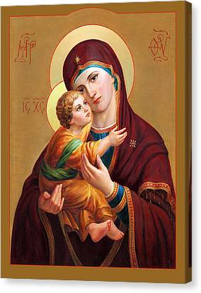 Canvas Print featuring the painting Holy Mother Of God - Blessed Virgin Mary by Svitozar Nenyuk