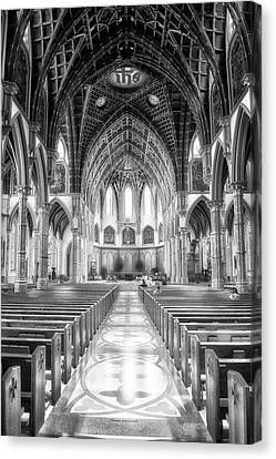 Holy Name Cathedral Chicago Bw 02 Canvas Print by Thomas Woolworth