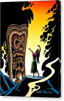 Homage To Tiki Canvas Print by Keith Tucker