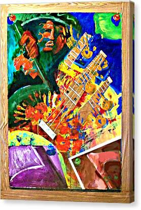 Hombre Con Guitarra Canvas Print by Elio Lopez