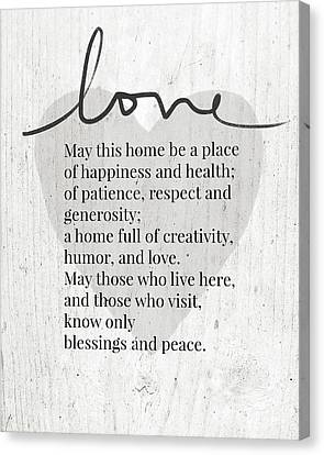 Prayer Canvas Print - Home Blessing Rustic- Art By Linda Woods by Linda Woods