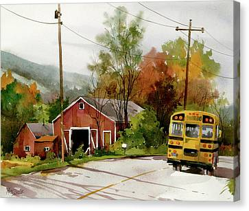 School Bus Canvas Print - Home Bus by Art Scholz