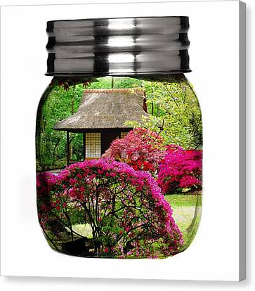 Home Flower Garden In A Glass Jar Art Canvas Print by Marvin Blaine