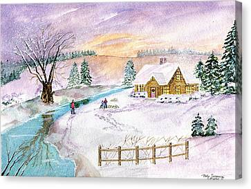 Canvas Print featuring the painting Home For Christmas by Melly Terpening