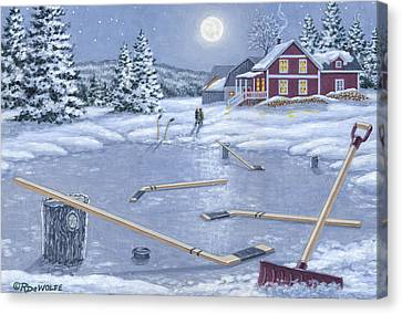 Hockey Canvas Print - Home For Supper by Richard De Wolfe