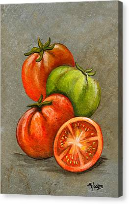 Tomatos Canvas Print - Home Grown Tomatoes by Elaine Hodges
