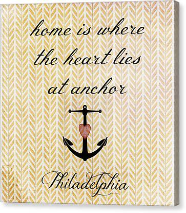 Home Is Philadelphia Anchor 2 Canvas Print
