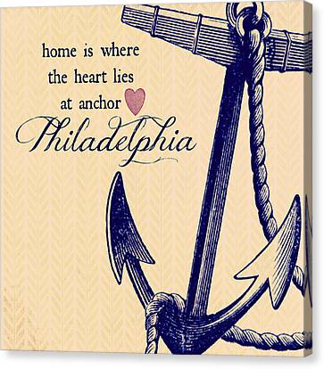 Home Is Philadelphia Anchor 3 Canvas Print