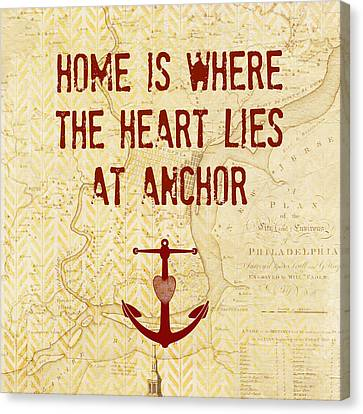 Home Is Philadelphia Anchor Canvas Print