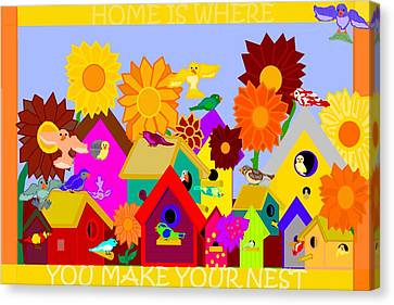 Old School Houses Canvas Print - Home Is Where You Make Your Nest by Pharris Art