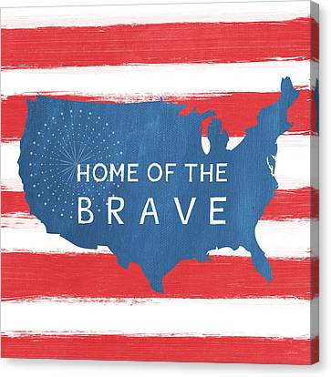 Patriotic Canvas Print - Home Of The Brave by Linda Woods