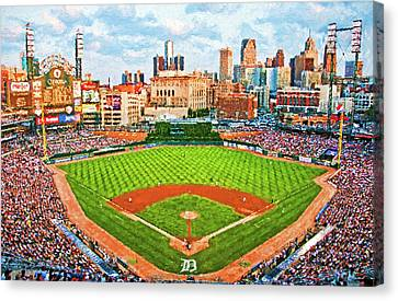 Detroit Tigers Baseball Art Canvas Print - Home Of The Tigers by Dennis Cox