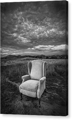 Home On The Range - Black And White Canvas Print by Peter Tellone