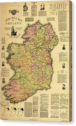 Old Home Place Canvas Print - Home Rule Map Of Ireland, 1893 by Irish School