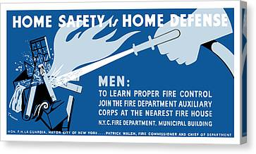 Canvas Print featuring the painting Home Safety Is Home Defense by War Is Hell Store