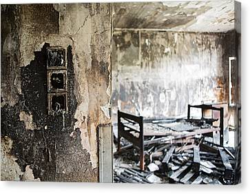 Home Sweet Home Burned Down Room With Bed At Abandoned Nursing H Canvas Print by Dirk Ercken