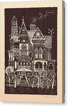 Blockprint Canvas Print - Home Sweet Home by Ernestine Grindal