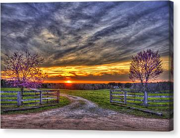 Pastureland Canvas Print - Home Sweet Home Lick Skillet Road Sunset by Reid Callaway