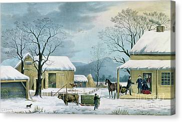 Home To Thanksgiving Canvas Print by George Durrie