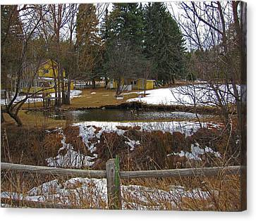 Canvas Print featuring the photograph Home With Pond by Tammy Sutherland