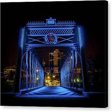 Homeless Winter Night On Wells Street Bridge - Fort Wayne Indiana Canvas Print