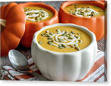 Autumn Soup Canvas Print - Homemade Pumpkin Soup by Teri Virbickis