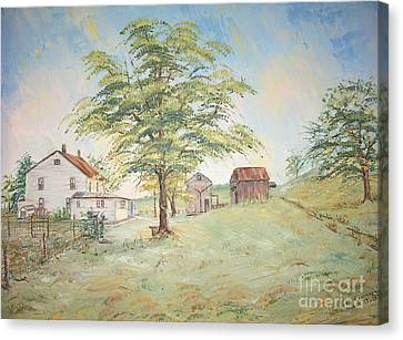 Homeplace - The Farmhouse Canvas Print by Judith Espinoza