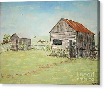 Homeplace - The Smokehouse And Woodhouse Canvas Print by Judith Espinoza