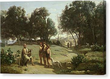 Dog In Landscape Canvas Print - Homer And The Shepherds In A Landscape by Jean Baptiste Camille Corot
