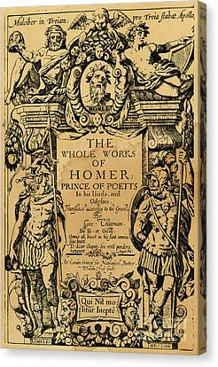 1616 Canvas Print - Homer Title Page, 1616 by Granger