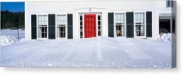 Homes In Winter Snow, Woodstock, Vermont Canvas Print