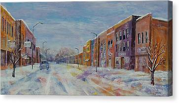 Canvas Print featuring the painting Hometown Winter by Susan DeLain
