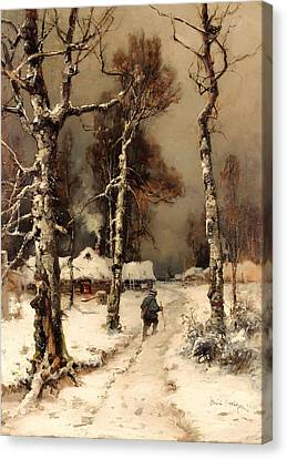 Homeward Through The Winter Forest Canvas Print by Mountain Dreams