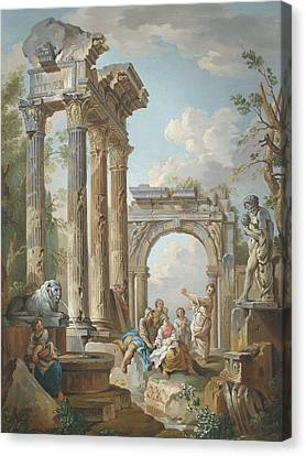 Homily Of An Apostle In Roman Ruins Canvas Print by Circle of Giovanni Paolo Panini