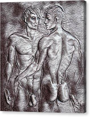 Homoerotic Drawing Two Canvas Print