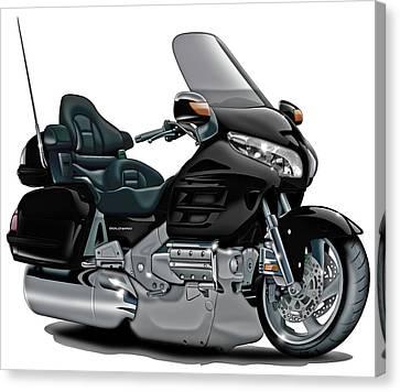 Honda Goldwing Black Bike Canvas Print by Maddmax