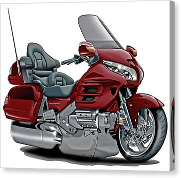 Honda Goldwing Maroon Bike Canvas Print by Maddmax
