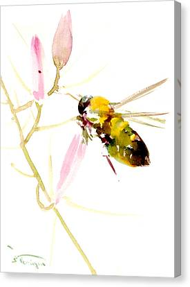 Honey Bee And Pink Flower Canvas Print