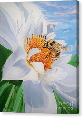 Honey Bee On White Flower Canvas Print by Sigrid Tune